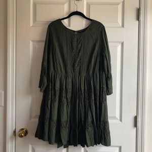 Olive green 1x pleated and lace dress